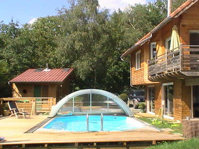 Maison bois bioclimatique Vue Pyrénées et piscine