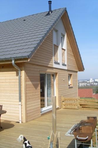 maison neuve à ossature bois et façade bois